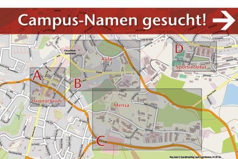 Wer hat gute Namensideen für die vier Campus-Gebiete der TU Clausthal?