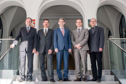 Nach dem Ausscheiden von (v. li.) Professor Thomas Hanschke besteht das Präsidium aus den Professoren Wolfgang Pfau, Alfons Esderts (geschäftsführend) und Gunther Brenner sowie Dr. Georg Frischmann.  Foto: M.B.