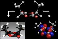 Berechnete Struktur von (S,S)-Lactid – dem Monomer, aus dem der Kunststoff (PLA) für das gedruckte Modell gefertigt ist – sowie das maßstabsgetreue gedruckte Modell (links) und das berechnete höchste besetzte Molekülorbital (rechts). Grafik: Hübner