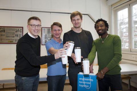 So sehen Sieger aus (von links): Sören Krahl, Lars Grobelny, Carsten Holze und Fabien Diffé Kamga. Foto: Ernst