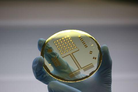 Wafer mit aufgedruckten Mikrosensoren für neuartige Anwendungen. Foto: ZeMPro