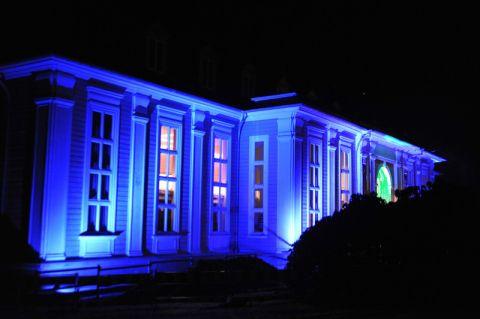 """Illuminierte Gebäude, hier die Aula Academica, sind ein Markenzweichen der """"Langen Nacht der Wissenschaft"""". Foto: Ernst"""