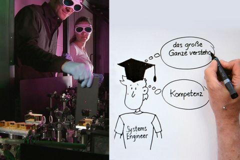 """Kinospots mit zwei unterschiedlichen Herangehensweisen: Während für den Studiengang """"Energie- und Materialphysik"""" ein Film (Szenenbild, links) gedreht wurde, legte für """"Systems Engineering"""" ein Grafiker Hand an."""
