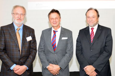 Während der Pumpspeicher-Tagung in Goslar (von links): Professor Wolfgang Busch, Michael Lindenthal vom Niedersächsischen Ministerium für Umwelt, Energie und Klimaschutz und Professor Thomas Hanschke. Foto: EFZN