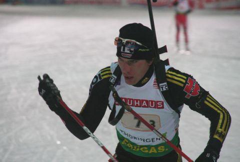 Arnd Peiffer, Student der TU Clausthal, gefiel bei seinem Debüt im Biathlon-Weltcup mit einer fehlerlosen Leistung am Schießstand. (Foto: Biathlon online)