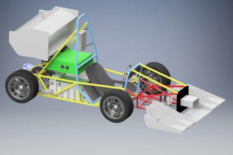 Computersimulation des neuen Rennwagens GVRacer7. In den kommenden Monaten wird das elektrisch angetriebene Fahrzeug gefertigt, um damit im Sommer am Wettbewerb Formula Student teilzunehmen. Grafik: GVR