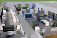 Darstellung der geplanten Fabrik im Virtual-Reality-Labor. Bild: IMAB