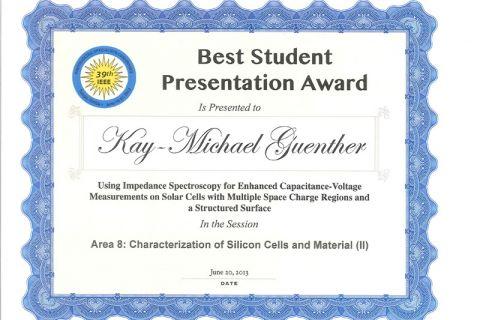 Diese Urkunde hat Kay-Michael Günther in Florida für seinen Vortrag zur Charakterisierung von Solarzellen bekommen.
