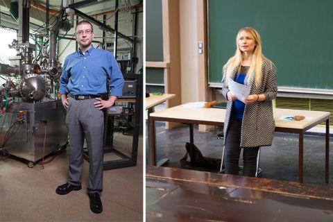 Dr. Sebastian Dahle und Eugenia Barthelmie haben mit ihren innovativen Lehrkonzepten die Jury überzeugt. Fotos: Kreutzmann, Bruchmann