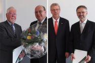 Dr. Axel Eschner (links, daneben TU-Vizepräsident Prof. Oliver Langefeld) und Dr. Eberhard Seitz (rechts, daneben Prof. Jürgen Heinrich vom Institut für Nichtmetallische Werkstoffe) sind zu Honorarprofessoren bestellt worden.