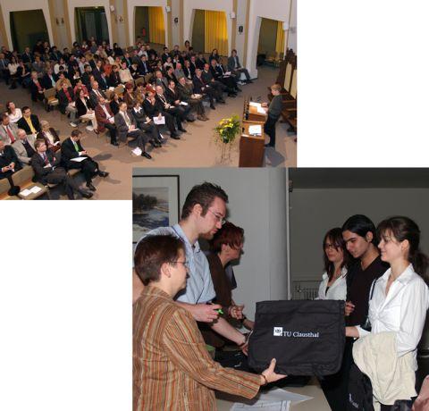 Gut gerüstet für die Vorlesung (Bild re.): Zum ersten Mal hieß die TU ihre Studienanfänger mit einem Geschenk willkommen - mit einer Umhängetasche.