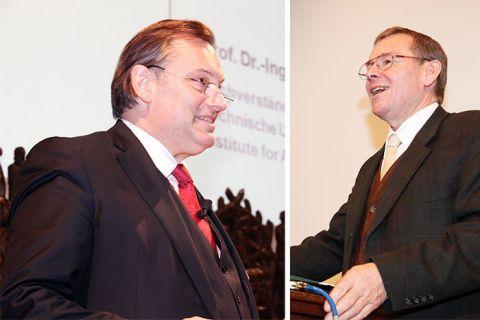 Professor Martin Faulstich (l.) wird neuer Geschäftsführer des CUTEC-Instituts und tritt damit an die Stelle von Professor Otto Carlowitz (r.). Fotos: Bertram