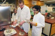 Schülerinnen und Schüler beim Experimentieren im Labor des Instituts für Organische Chemie. Foto: Arthur Brühl