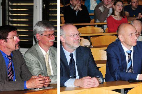 """Nahmen an der """"Clausthaler Universitätswoche 2014"""" in Ljubljana teil: die TU-Professoren (von links) Heinz Palkowski, Winfried Daum, Andreas Schmidt und Stefan Hartmann."""