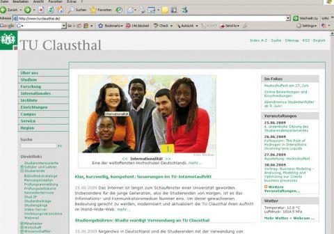 Falls die TU-Internetseite noch nicht in dieser Form erscheint, sollte geklickt werden auf: Aktualisieren.