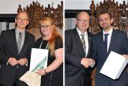 Marina Unseld erhielt den Preis für herausragende Leistungen während der Familienphase von Dr. Georg Frischmann. Und Hasan Habbabeh (rechts) bekam den DAAD-Preis von Professor Oliver Langefeld. Fotos: Ernst