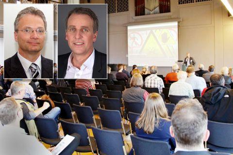 Professor Klaus-Jürgen Röhlig (Porträt links) stellte als Sprecher der Forschungsplattform ENTRIA die Forschungsergebnisse vor, unter den Gästen befand sich auch Niedersachsens Umweltminister Stefan Wenzel. Fotos: TUC, NMU