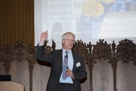 Sieht es für die europäische Stahlbranche nach schwierigen Zeiten auch wieder  ein bisschen aufwärts gehen: Dr. Hans Fischer, Hauptgeschäftsführer des Unternehmens Tata Steel Europe und Ehrendoktor an der TU Clausthal. Foto: Ernst